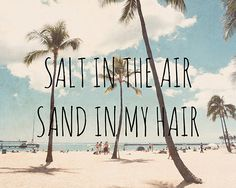 """Salt in the Air, Sand in my Hair"" ocean quote"