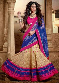 USD 103.58 Blue and Cream Wedding Lehenga Saree 30436