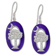 Sterling Silver Purple Mother of Pearl and Resin Palmetto and Crescent Earrings
