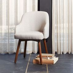 Saddle Dining Chair - Crosshatch. Great desk chair. Would want to slip in something with a little more color. Small yardage, so not expensive to do so.