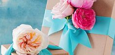 Presents - add fresh flowers to ribbon/bow