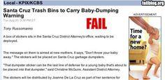 Baby dumping ad fail