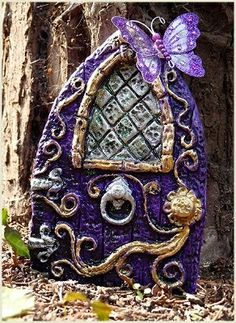 I love fairy doors on pinterest fairy doors gnome for Purple fairy door