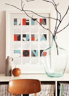 Geometric typographic calendar.