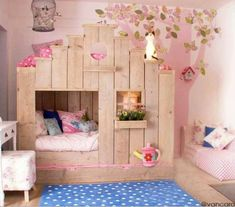 This would be a cute kids room :) poppy could build this, but I'd paint or stain light color or turquoise ?
