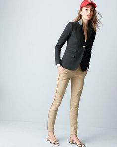 J.Crew Schoolboy blazer worn with the Andie pants, embroidered crest baseball cap and the Lucie printed slingback flats.