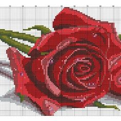 Подробные схемы вышивки крестом розы 31