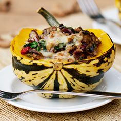 Sweet Squash Stuffed with Mushrooms, Greens & Cranberries: healthy, vegetarian, and tastes like Fall!