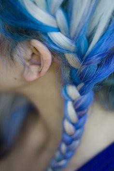 Braided hair with blue dye