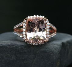 14k Rose Gold 11x9mm Morganite Cushion and by Twoperidotbirds,