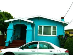 Bright blue house!