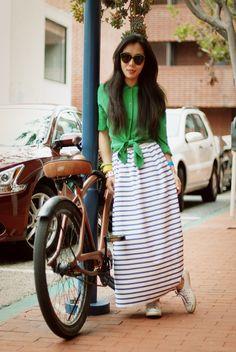 striped maxi skirt.