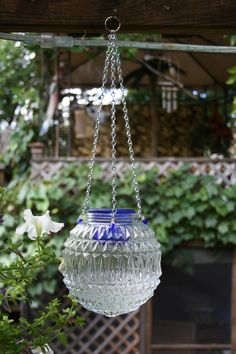 Repurposed Light Globe Hanging Candle Lantern by NewViewsbyDani