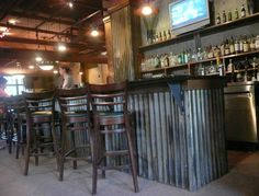 kitchens, idea, bar interior, galvanized decor, corrugated metal bar, corrug metal, kitchen islands, corrogated metal, bar front
