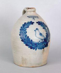 Harrisburg, Pennsylvania stoneware jug, 19th c., stamped Cowden & Wilcox Harrisburg PA ''4'' cowden, wilcox, american jug, 19th, harrisburg pa, stonewar crock, pennsylvania stonewar, stonewar jug, potteri
