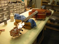 "Benedetto Guitars | ""XLV"" The 45th Anniversary Cremona on the final assembly workbench."