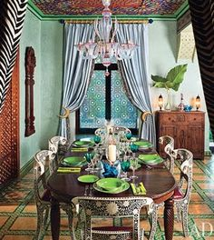 decor, dining areas, dining rooms, interior, architectural digest, dine room, color, ceilings, bohemian style