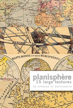 Planisphère: 15 free downloadable map textures by mellowmint (deviantart) #printables #maps #paper_crafting #crafts #papers