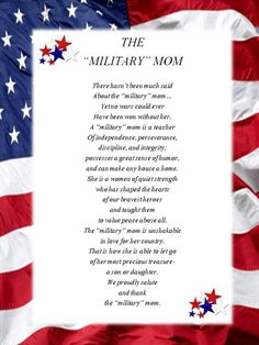 I am proud to be a military mom.