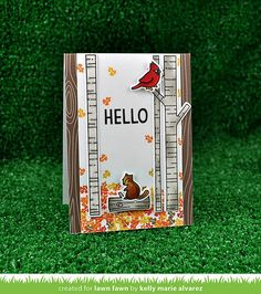 Lawn Fawn - Joy to the Woods + coordinating dies, Sweater Weather, Walnut Woodgrain Notecard_ card by Kelly for Lawn Fawn Design Team