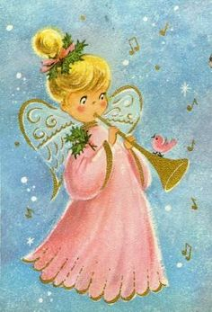 So cute! #vintage #Christmas #cards #angels