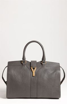 Yves Saint Laurent 'Cabas Chyc - Medium' Leather Satchel Light Seppia