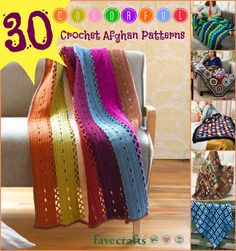 30 Colorful Crochet Afghan Patterns.  Lots of free tutorials for making beautiful spring and summer afghans