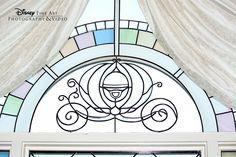 We spy Cinderella's coach on a Disney's Wedding Pavilion window! #Disney #wedding #WeddingPavilion #chapel #window
