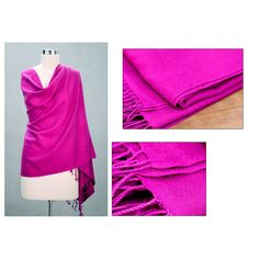 Wool and Silk 'Hot Orchid' Shawl (India) | Overstock.com Shopping - The Best Deals on Scarves & Wraps