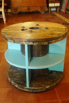 Cable spool shelf/table by Resurrection Furniture and Found Objects Gallery.