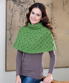 Aran Waves Poncho Crochet Pattern  #crochet  #redheartyarns