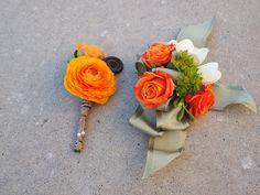 Orange ranunculus succulent corsage