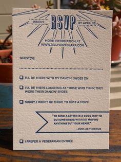RSVP wording...love the options of being there or not being there vs. boring Attending/Not Attending