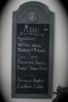 24 Beautiful And Stylish Ways To Decorate For Halloween (..a creepy menu board)