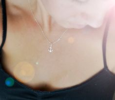 Sterling Silver Anchor Necklace - Simple Modern Minimalist Jewelry $22.00