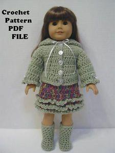 PDF Crochet Pattern HS32 Hooded Sweater Jacket Skirt Boots Fit 18 inch Dolls | eBay artwork by linda
