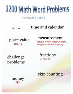 Over 1200 word problems to use with Grades 1-2. Word problems to suit every aspect of your curriculum and every ability in your class. Different categories of problems within 1 topic meet the needs of struggling, typical and advanced students. Download and then have it in your computer to mix and match as needed or create a master file of every word problem you will ever need. Students also learn to write equations and concluding sentences. Includes answer key.