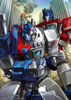 Ultra magnus and Optimus prime by GoddessMechanic.deviantart.com