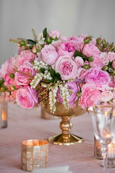 Pink + Gold - Wedding Centerpiece - LOVE!!   See more here:  http://www.StyleMePretty.com/2014/05/15/classic-military-wedding/ KDJBotanica.com/ Photography: MelaniLustPhotography.com