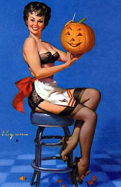 Gil Elvgren is my favorite artist when it comes to pinups! Annd I love Halloween! Win, win for me :)