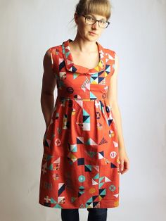 tsuru washi dress with origami neckline // made by rae