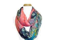 Damask and Flowers Design Multicolor Infinity Scarf (Pink/Navy Blue) Peach Couture