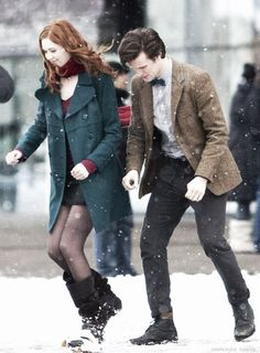 The raggedy Doctor and Amy Pond.