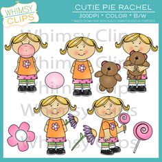 Cutie Pie Rachel clip art. Cute pie Rachel likes to have fun. :)  300dpi png, jpg, color and black & white.