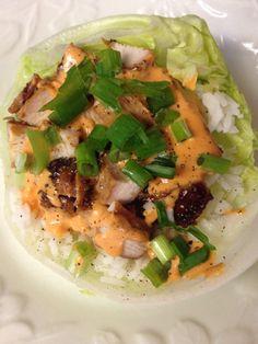 TERIYAKI CHICKEN LETTUCE BOWL: Lettuce - Rice - Diced Chicken ...