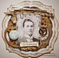 Love the Steampunk look of this interesting photo matt with gears and distressed papers in this heritage page.