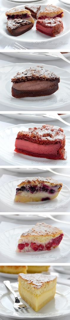 Magic Cake, Part II - Chocolate, Red Velvet, Fruit by kitchennostalgia: The magic is in the fact that you make only one batter and, after baking, you get a cake with 3 distinct layers: dense one on the bottom, custard-like layer in the middle, and a sponge layer on top!  #Cake #Magic