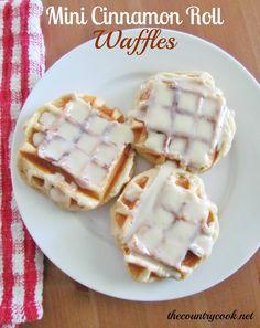 Mini Cinnamon Roll Waffles. Mini love!