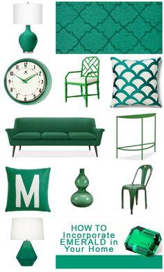 How to Incorporate a New Color into Your Decor! #emerald #color #decor #design http://tipsaholic.com/incorporate-emerald-home-decor/