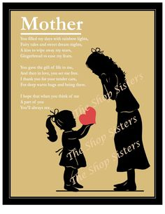 Mother and Daughter Mother's Day Poem Heart by TheShopSisters, $15.00 daughter mother, mother daughter silhouette, heart, mothers day, mothers poem, mom poems, daughter quotes to mom, son, daughter to mom quotes